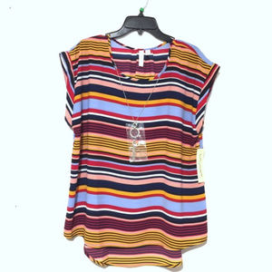 Tacera Multicolor Blouse with Necklace NWT